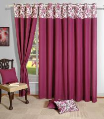 Wine Colour Solid Plain Eyelet Curtain for Door