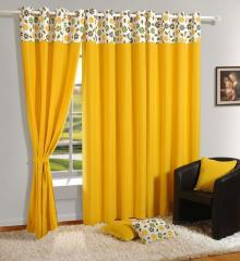 Swayam Yellow Colour Solid Plain Eyelet Curtain for Door