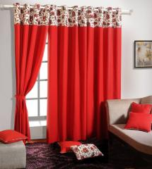 Red Colour Solid Plain Eyelet Curtain for Door