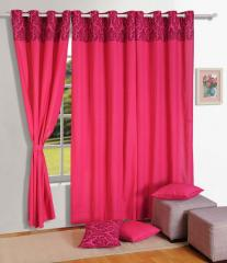 Magenta Colour Solid Plain Eyelet Curtain for Door