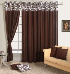Choco Colour Solid Plain Eyelet Curtain for Door