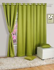 Green Colour Solid Blackout Eyelet Curtain for Door