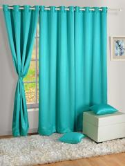 Blue Colour Solid Blackout Eyelet Curtain for Door