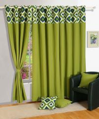 Green Colour Solid Plain Eyelet Curtain for Door