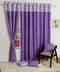 Purple Colour Solid Plain Eyelet Curtain for Door
