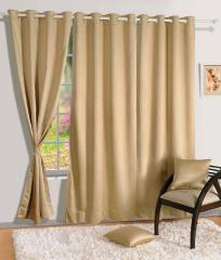 Beige Colour Solid Blackout Eyelet Curtain for Door
