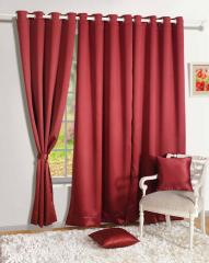 Maroon Colour Solid Blackout Eyelet Curtain for Door