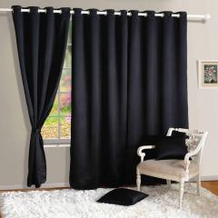 Black Colour Solid Blackout Eyelet Curtain for Door