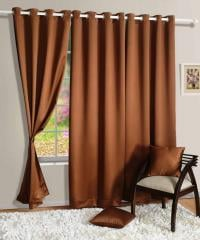 Brown Colour Solid Blackout Eyelet Curtain for Door
