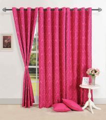 Magenta Colour Solid Premium Lining Plain Eyelet Curtain for Door