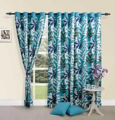 Blue Colour Leaf Premium Lining Printed Eyelet Curtain for Window