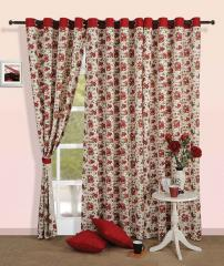Maroon Colour Floral Printed Eyelet Curtain for Window
