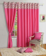 Pink Colour Solid Premium Lining Plain Eyelet Curtain for Door
