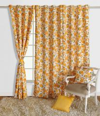 Yellow Colour Floral Printed Eyelet Curtain for Long Door