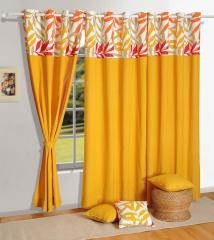 Mustard Colour Solid Plain Eyelet Curtain