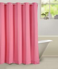 Pink Colour Solid Shower Eyelet Curtain for Shower