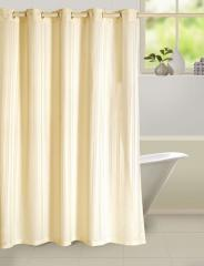 Cream Colour Solid Shower Shower Eyelet Curtain for Shower