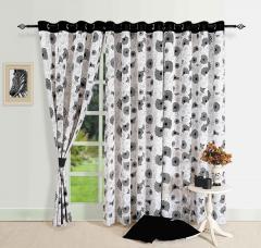 Black Colour Geometrical Premium Lining Printed Eyelet Curtain for Long Door