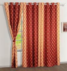 Maroon Colour Geometrical Premium Lining Printed Eyelet Curtain for Door