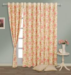 Cream Colour Floral Premium Lining Printed Eyelet Curtain for Door
