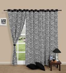 Black Colour Zebra Printed Eyelet Curtain for Long Door