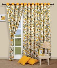 Yellow Colour Floral Premium Lining Printed Eyelet Curtain for Long Door