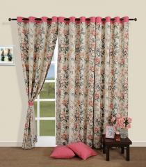 Pink Colour Floral Premium Lining Printed Eyelet Curtain for Door