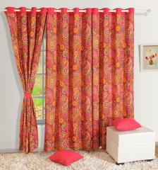 Red Colour Floral Premium Lining Printed Eyelet Curtain for Long Door
