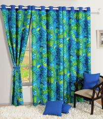 Blue Colour Solid Printed Eyelet Curtain for Door