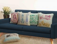 Multi-color Assorted Canvas Cushion Cover Set of 5