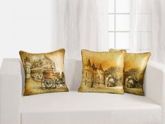 Vintage Town Theme Deco Cushion Cover Set of 2