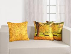 Yellow Leaf Theme Deco Cushion Cover Set of 2