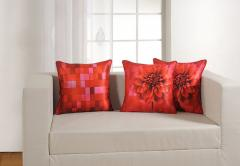 Floral and Check Theme Deco Cushion Cover Set of 2