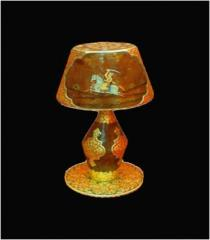 Lampshade Gold Work on Camel Leather