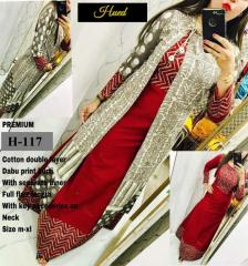 Double Layer Dabu Print Red Ethnic Kurti