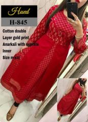 Golden Print Anarkali Red Kurti