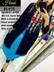 Slit Cut Rayon Black-Blue Kurtis