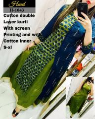 Green-Blue Cotton Double layer Kurti