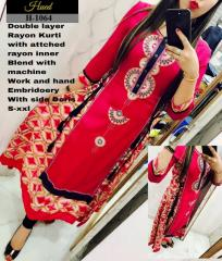 Double Layer rayon Red Kurtis