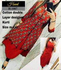 Black Embroidered Red Color Kurtis