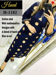 Geometric embroidery Designs Royal blue Kurti
