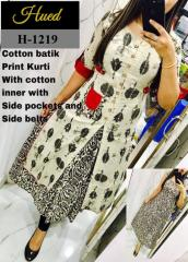 Cotton Batik Print Kurti with side pocket & Belts