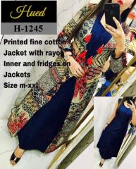 Blue rayon inner Kurti and fridges on jackets