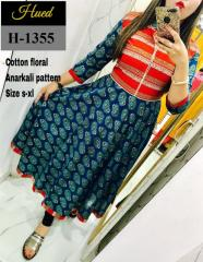 Cotton Floral Anarkali Pattern multi-Color Kurti