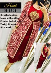 Crinkled cotton Inner with Zari work cotton printed jacket
