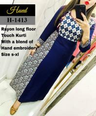 Hand Embroidery Blue Rayon long Kurti