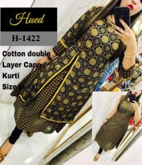 Yellow-Black double layer Crepe Kurti