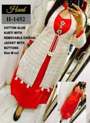 Cotton Slub Red Kurti with white chikan jacket