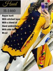 Yellow-Black rayon kurti with side latkans
