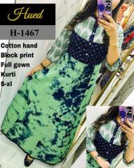Hand Block Print full Green gown Kurti